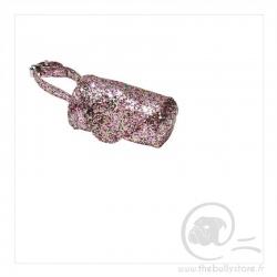 Distributeur de sac a crottes rose