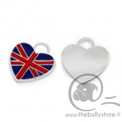 Pendentif coeur london drapeau anglais